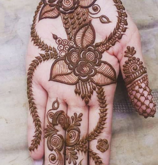 simple leaf henna design