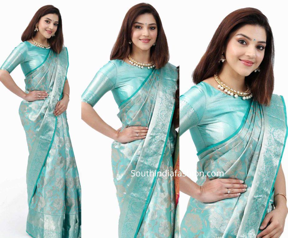 mehreen in blue kanchi pattu saree at shopping mall launch in kothagudem