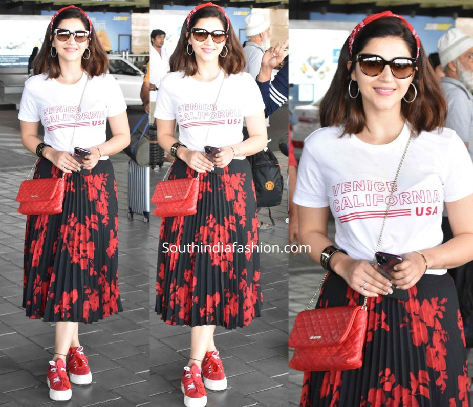 mehreen pirzadaa at airport black skirt and white t shirt