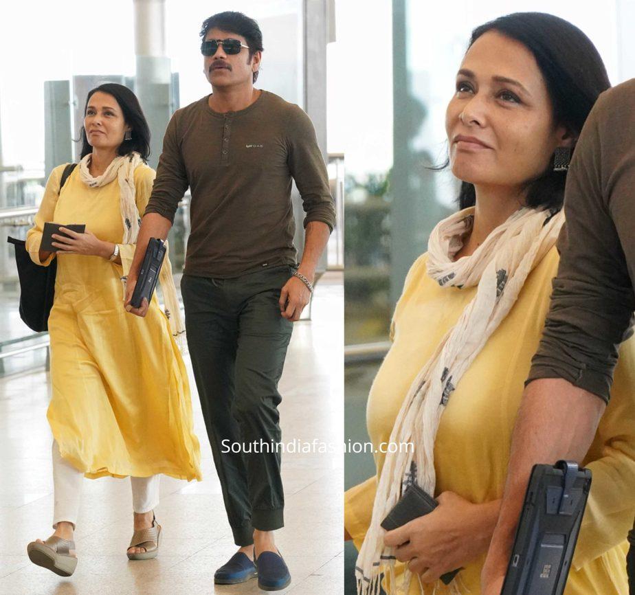 nagarjuna and amala akkineni at airport