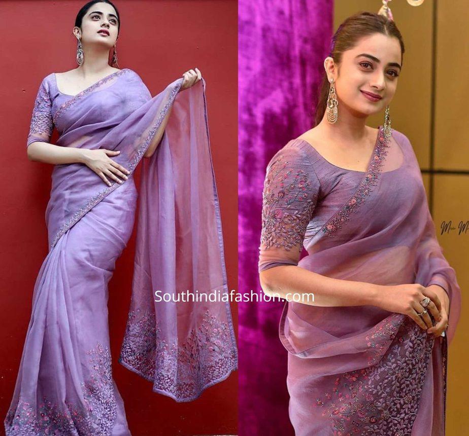 namitha pramod in lavender organza saree