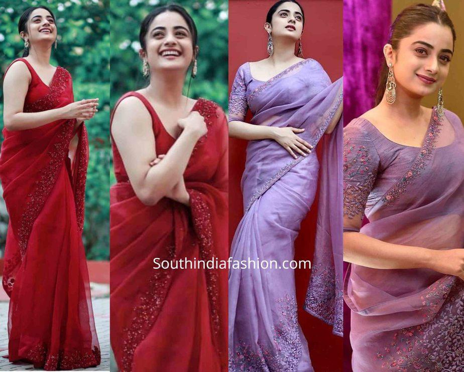 namitha pramod in organza sarees by paris de boutique
