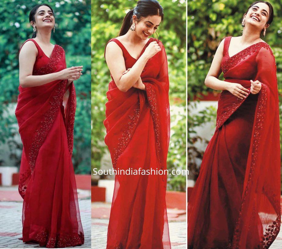namitha pramod in red organza saree (1)