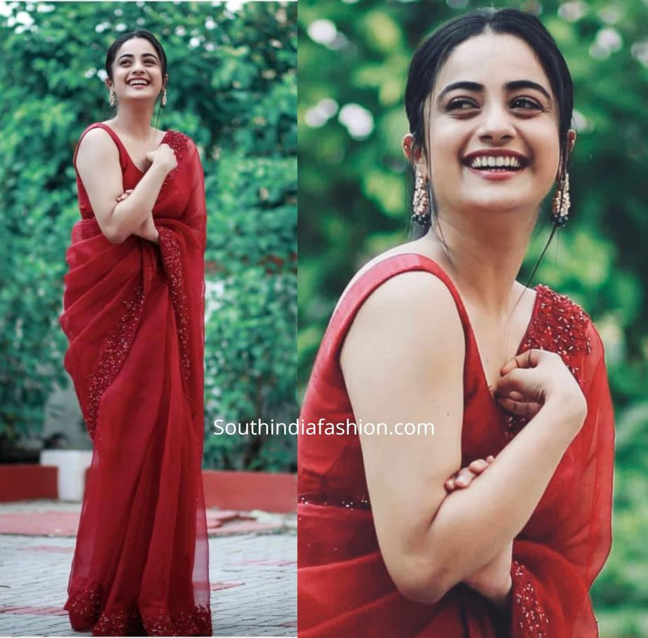 namitha pramod in red organza saree