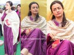 namrata shirodkar in purple anarkali at vijaya nirmala statue launch