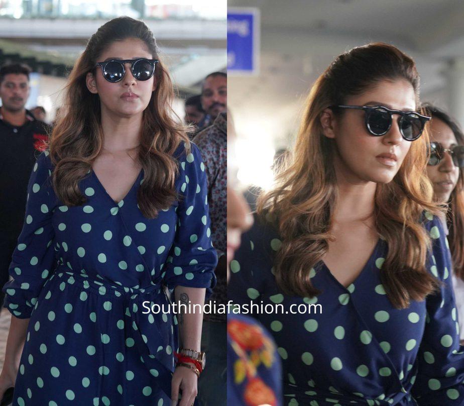 nayanthara blue polka dot dress at airport (2)