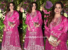 neelam kothari in pink sharara at armaan jain wedding reception