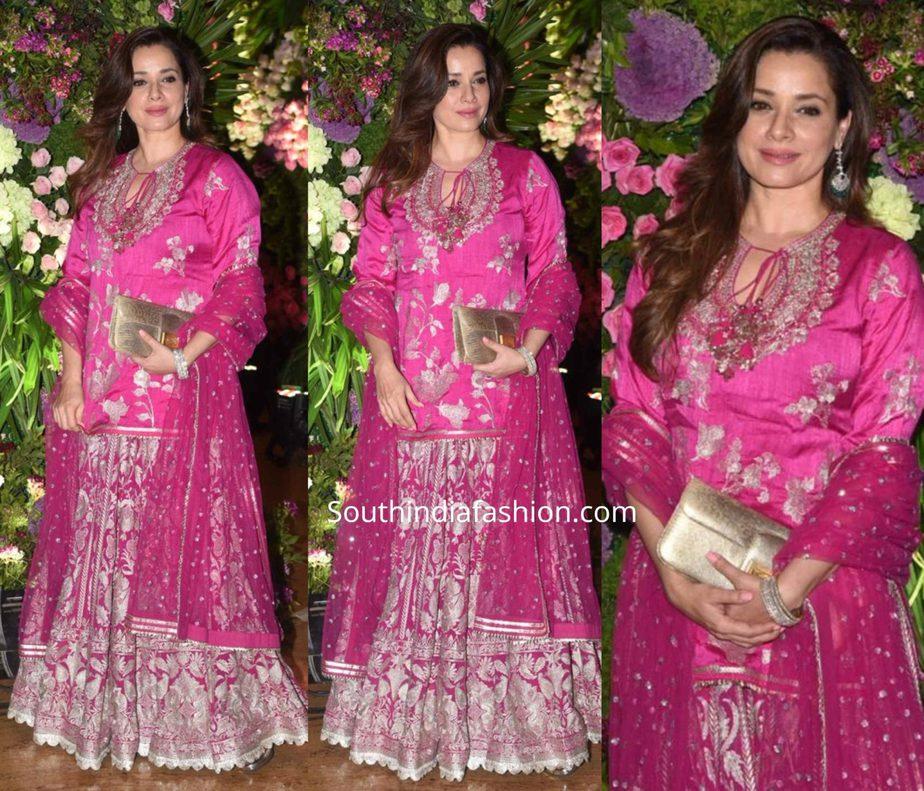 neelam kothari in pink sharara at armaan jain wedding reception