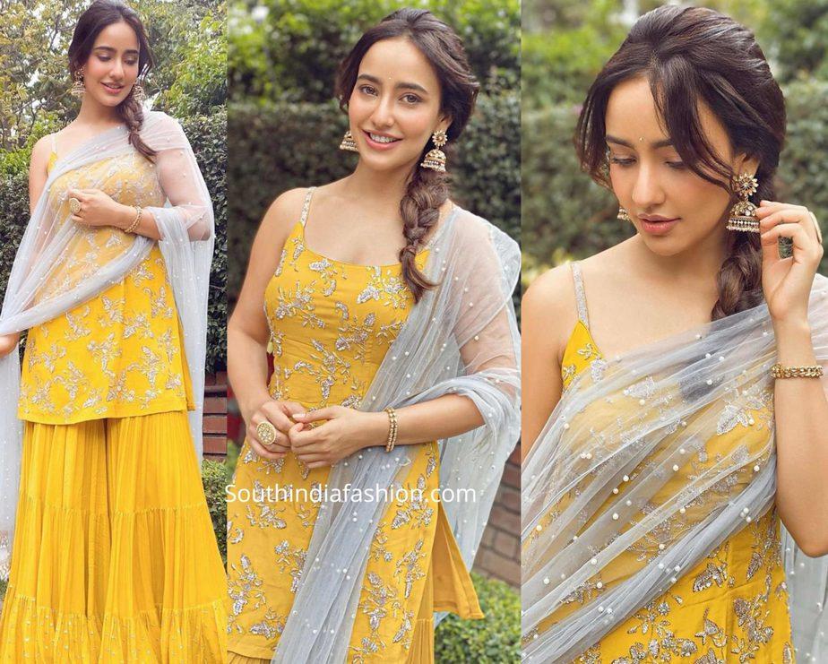 neha sharma in a yellow sharara suit