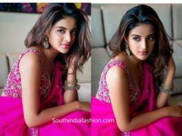 nidhhi agerwal in pink organza saree by issa studio
