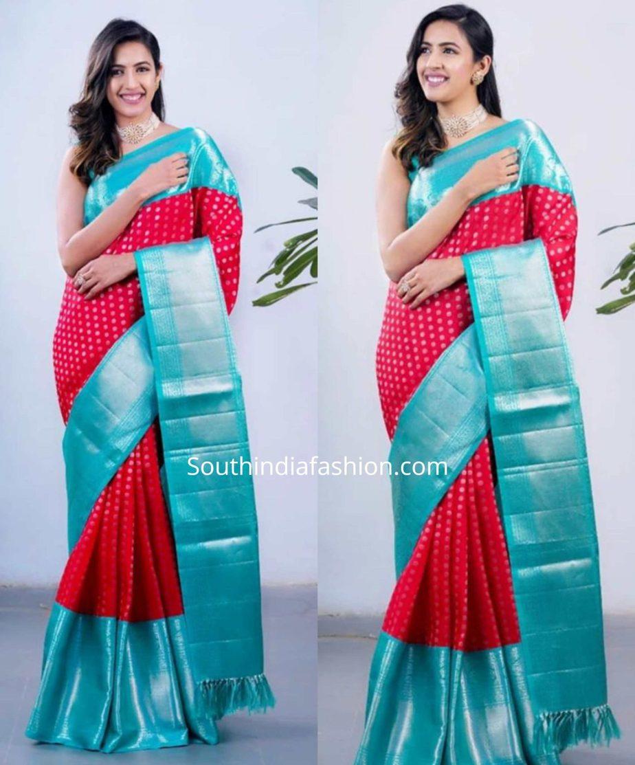 niharika konidela in red and blue pattu saree
