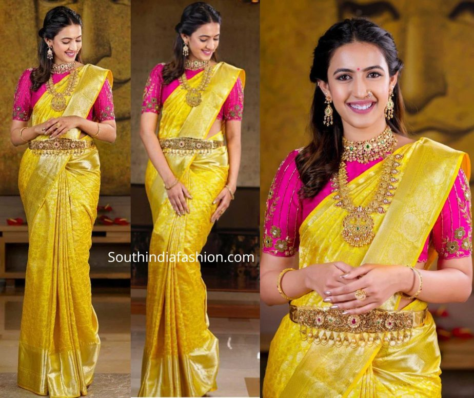 niharika konidela yellow pattu saree with pink blouse