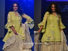 nitya menon sharara suit at lakme fashion week, kaveri