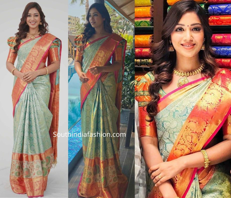 nivetha pethuraj in blue kanchi pattu saree (1)