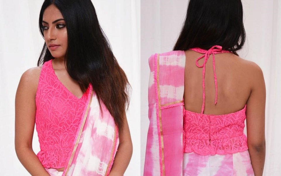 Neon pink halter neck lace top