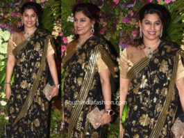 pinky reddy in black and gold saree at armaan jain wedding reception (2)
