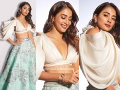 pooja hegde in manish malhotra lehenga and statement sleeves crop top (2)
