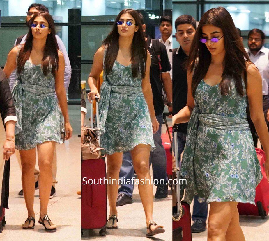 pooja hegde mini dress at airport