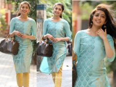 pranitha subhash casual look blue kurta