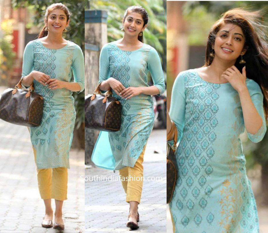 pranitha subhash casual look blue kurta
