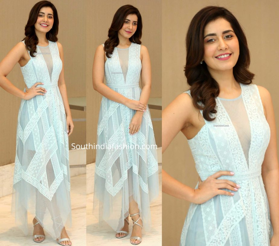 raashi khanna blue dress at word famous lover trailer launch