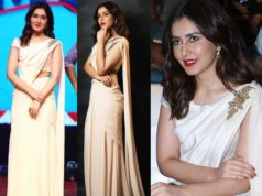 raashi khanna in tarun tahilaini white lehenga at world famous lover pe release