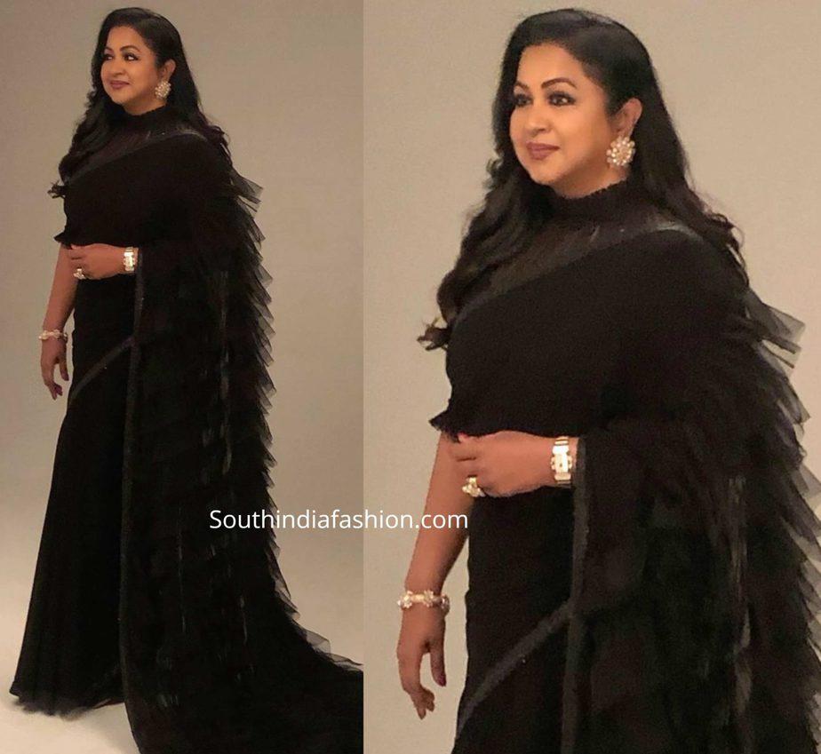radhika sarathkumar in black ruffle saree (2)