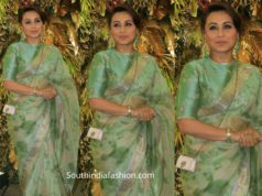 rani mukerji in sabyasachi organza sareeat armaan jain wedding reception (2)
