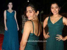 rashmika in blue maxi dress at bheeshma pre release function