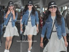 rashmika mandanna airport look mini dress