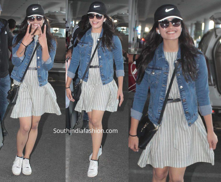 rashmika mandanna airport look mini dress
