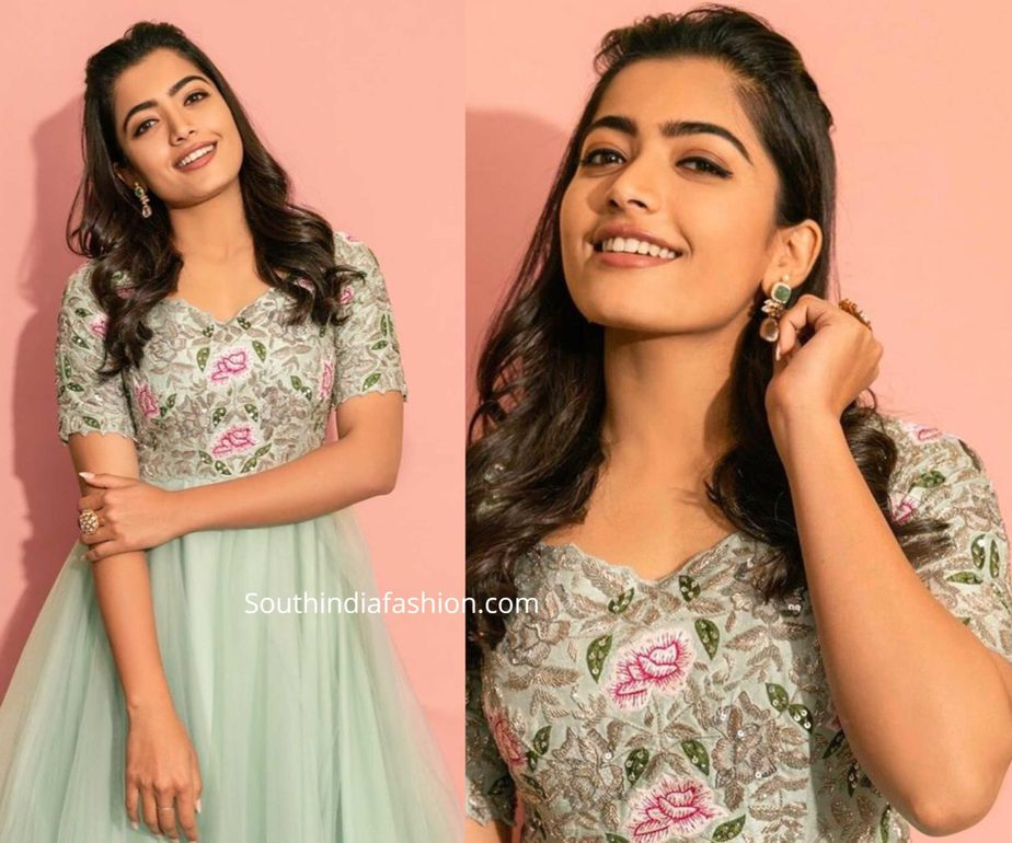 rashmika mandanna green anarkali at bheeshma promotions (1)