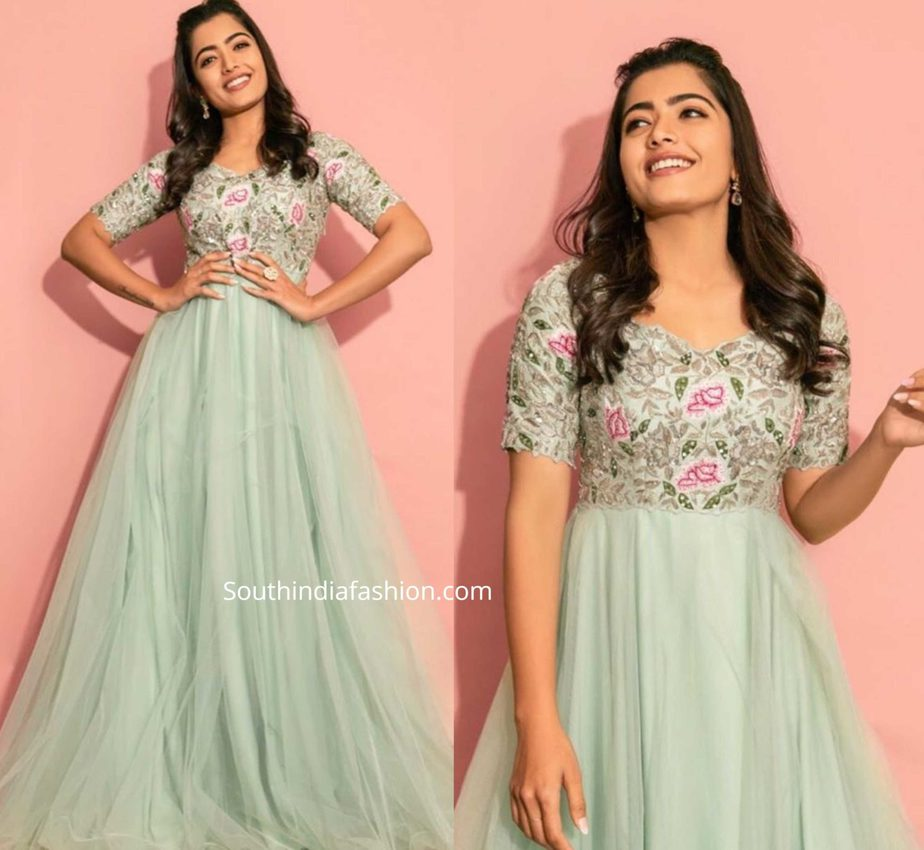 rashmika mandanna green anarkali at bheeshma promotions