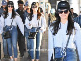 rashmika mandanna in jeans at airport