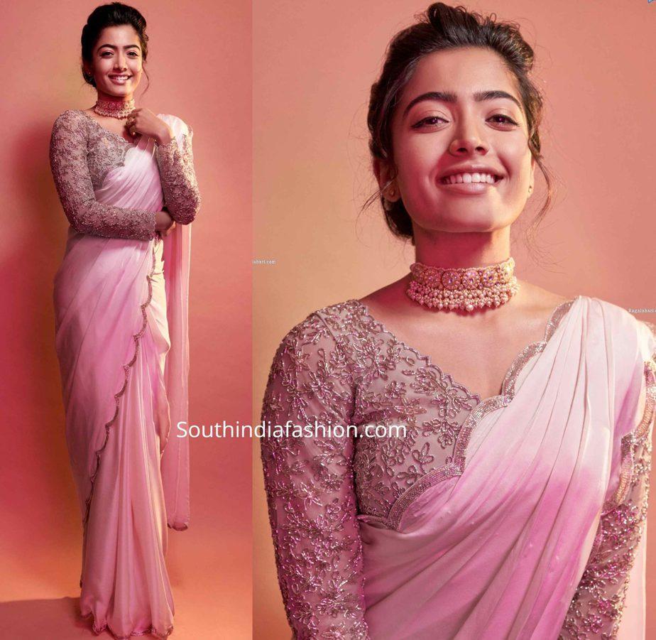 rashmika mandanna pink saree (1)