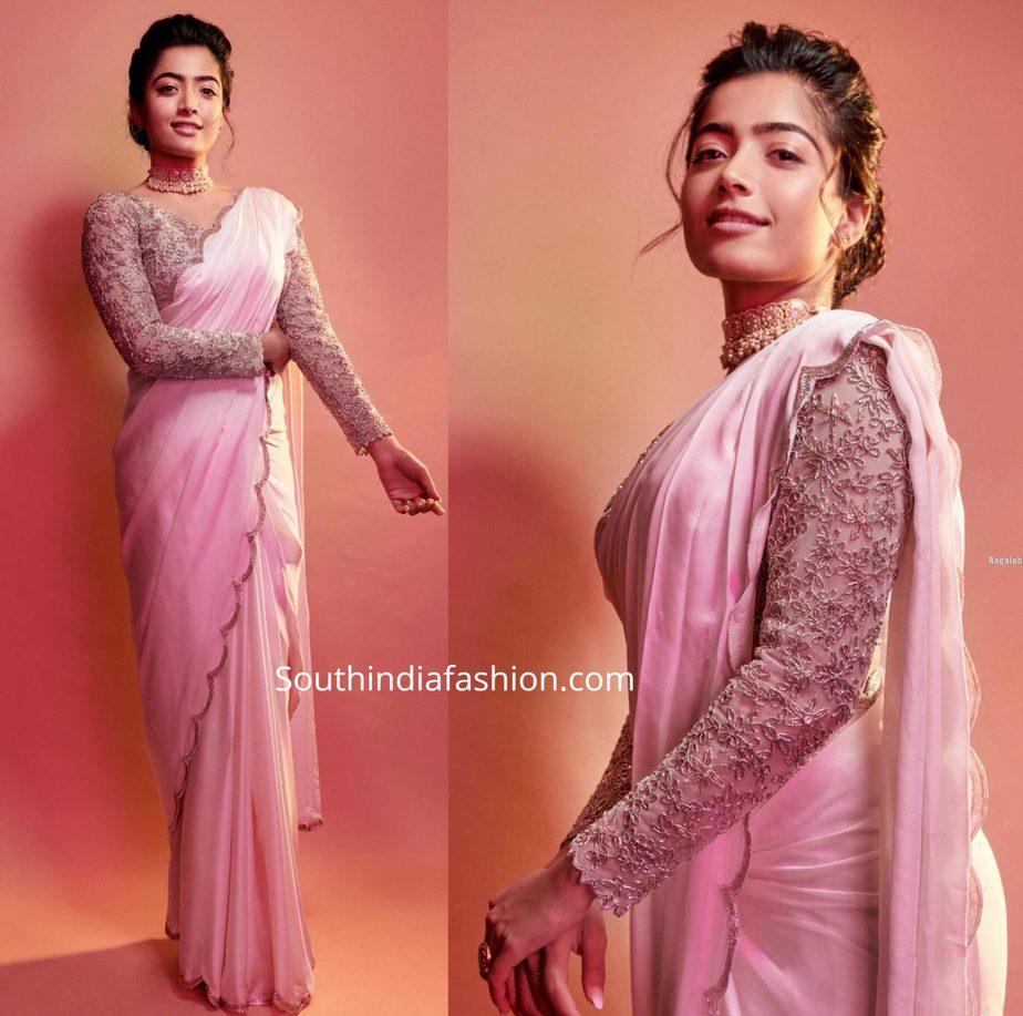 rashmika mandanna pink saree (2)
