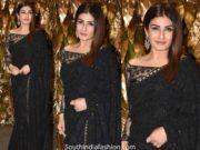 raveena tandon in black saree at armaan jain wedding reception (1)