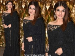 raveena tandon in black saree at armaan jain wedding reception (1)