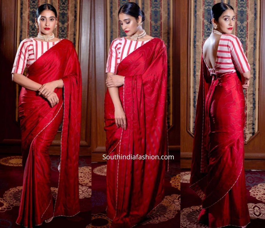 regina cassandra in red saree and striped blouse at a wedding reception in chennai (1)