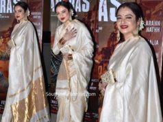 rekha in cream color silk saree at guns of banaras screening