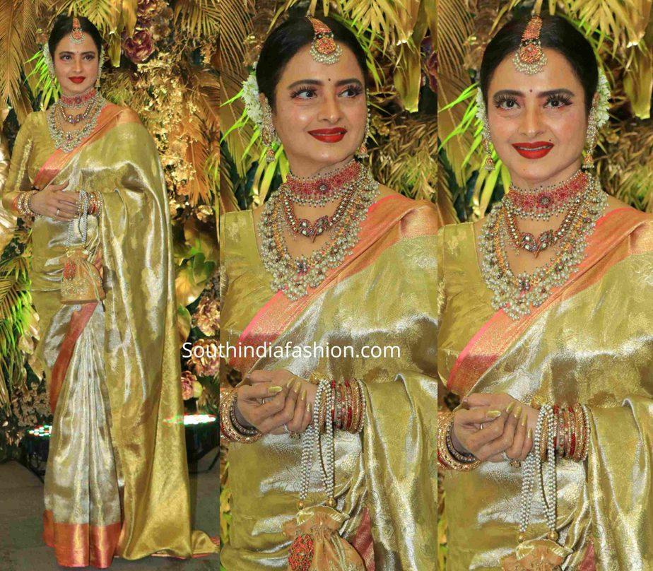 rekha in gold kanjeevaram saree at armaan jain wedding