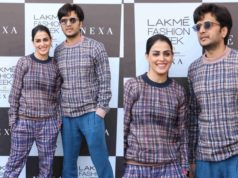 riteish and genelia in checkered outfits at lakme fashion week