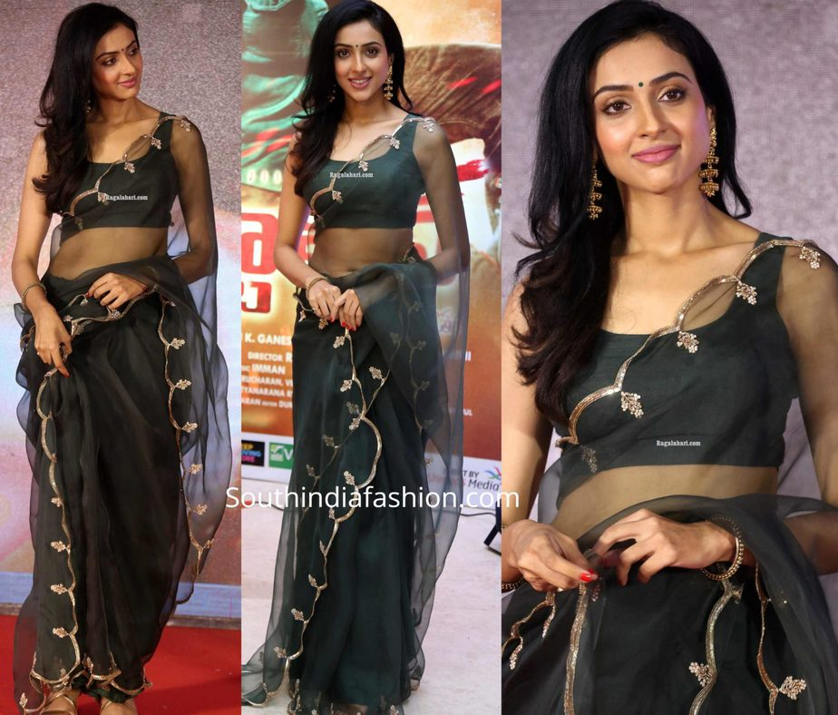 riya suman in green organza saree (1)