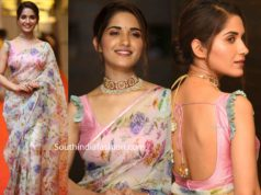 ruhani sharma in printed organza saree at hit pre release function