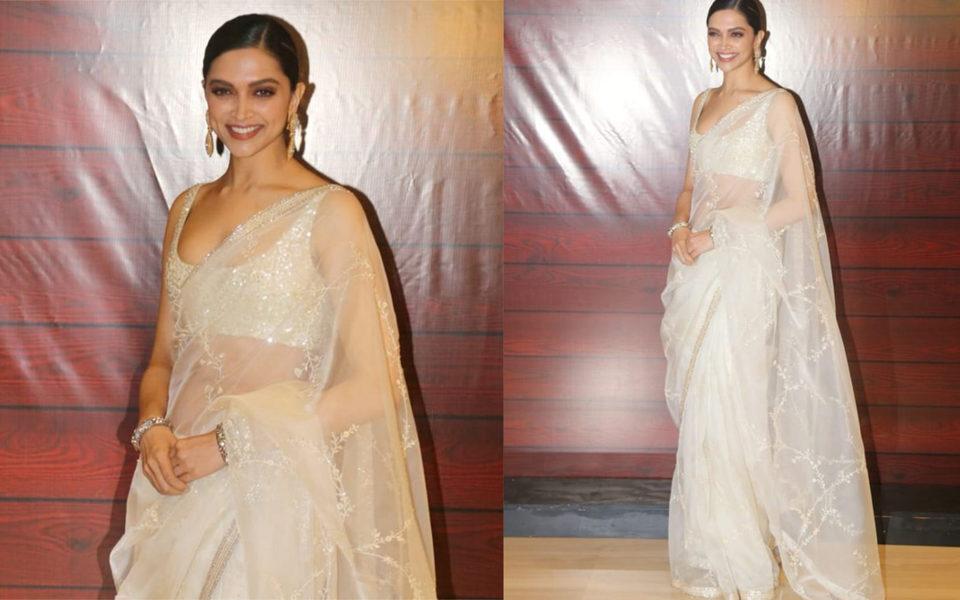 deepika in sheer white Sabya saree