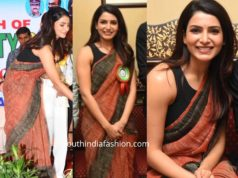 samantha akkineni brown jute saree at road safety event