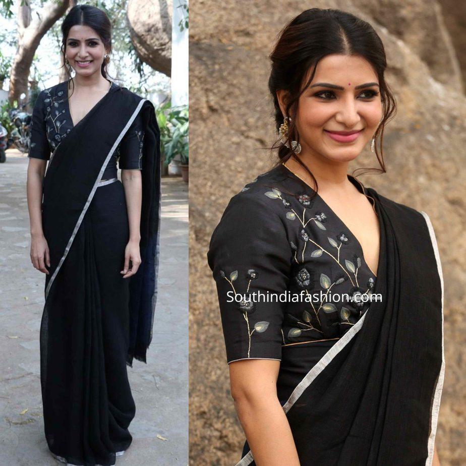 samantha akkineni in black saree at jaanu promotions (1)