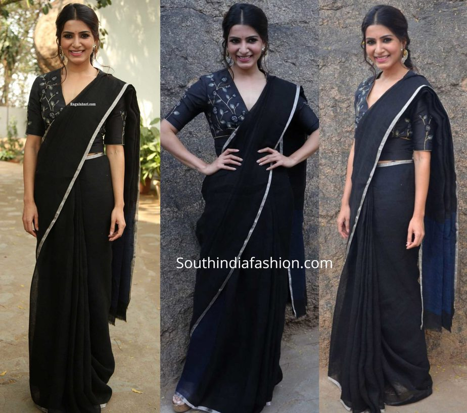 samantha akkineni in black saree at jaanu promotions (2)