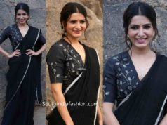 samantha akkineni in black saree at jaanu promotions