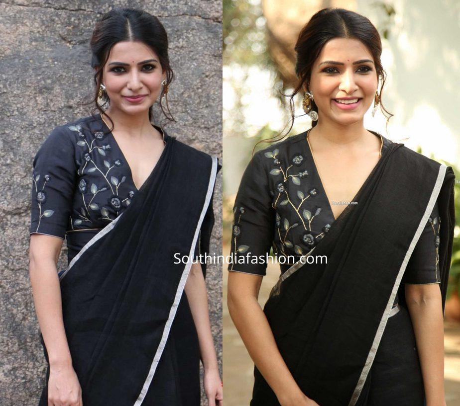samantha akkineni in black saree at jaanu promotions (3)